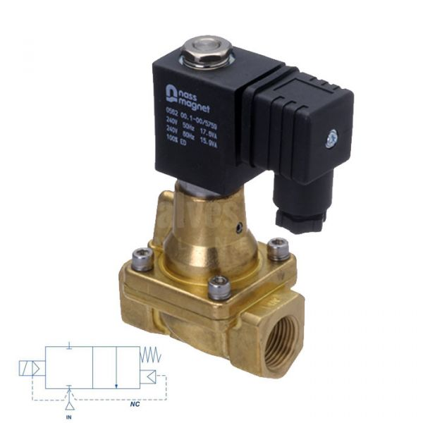 Brass Solenoid Valve 0.5-50 Bar Rated High Pressure 3/8
