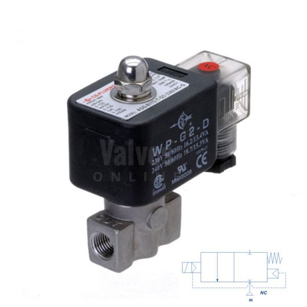 Stainless Steel Solenoid Valve 1-100 Bar Rated High Pressure 1/8