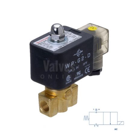 Brass Solenoid Valve 0-120 Bar Rated High Pressure 1/4""