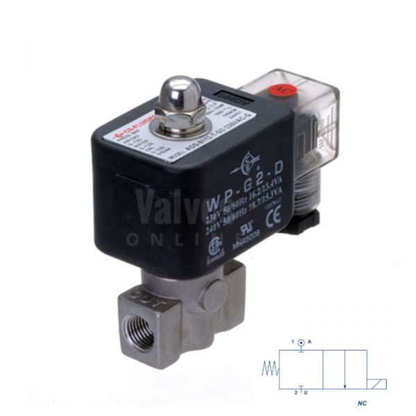 Stainless Steel Solenoid Valve 0-120 Bar Rated High Pressure 1/8