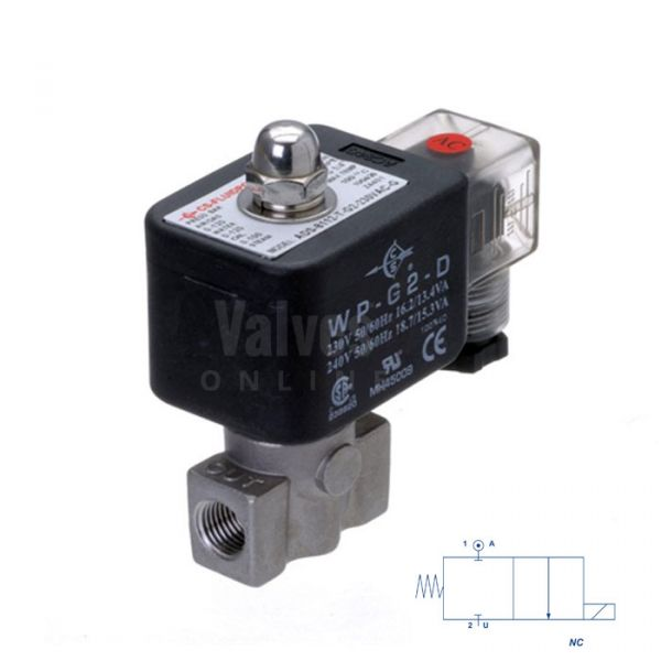 Stainless Steel Solenoid Valve 0 Bar Rated Direct Acting 1/4