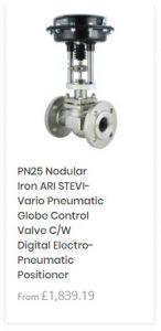 PN25 Nodular Iron ARI STEVI-Vario Pneumatic Globe Control Valve C/W Digital Electro-Pneumatic Positioner